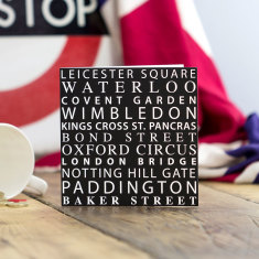 London Tube stops greeting card (pack of 6)