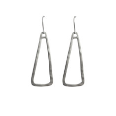 Long abstract triangle earrings in silver
