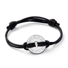 Men's personalised sterling silver GPS coordinate disc bracelet