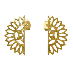 Lace edge small earrings in 18 kt yellow gold plate