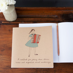 Accordion girl notebook