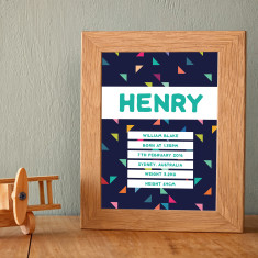 Personalised geometric triangle name & birth art print (navy background)