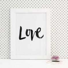 Love brush lettering print