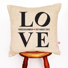 Love personalised linen cushion cover
