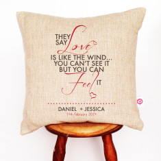 Love is like the wind personalised cushion cover