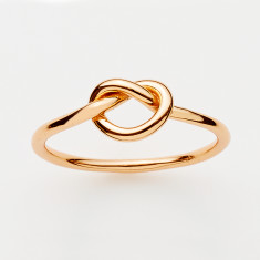 Love knot ring in gold or rose gold plate