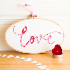 Handmade love embroidery hoop artwork