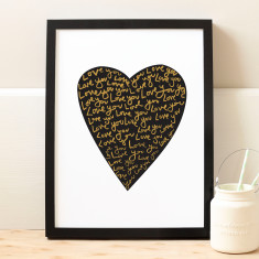 Love you typography heart print