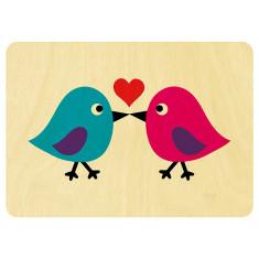 Love birds wooden card
