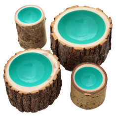 Aqua lacquered log bowl