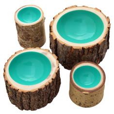 Aqua lacquered log bowl