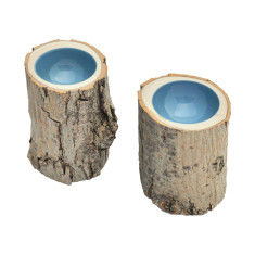 Grey blue lacquered log bowl