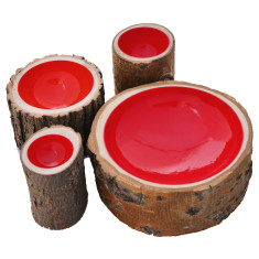 Red lacquered log bowl