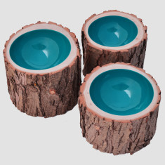 Turquoise lacquered log bowl