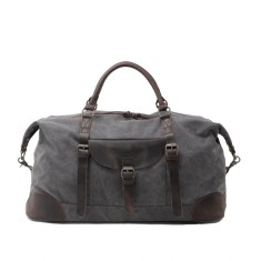 Large Canvas Travel Duffle Bag With Leather Handle In Grey