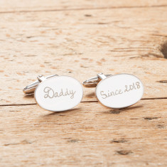 Men's personalised silver plated oval cufflinks