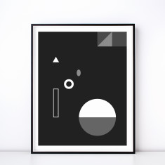 Soiree No. 3 Monochrome Geometric Art Print