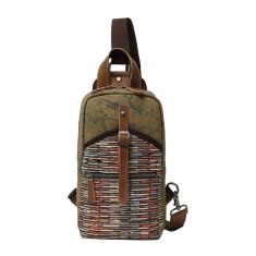 Canvas Sling Chest Shoulder Bag In Green