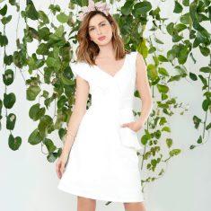 Hollyhock knee length textured jacquard frill v-neck dress in white