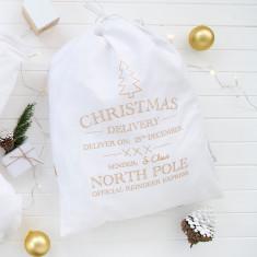Christmas delivery santa sack in copper/gold