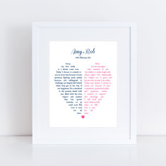 Custom split heart wedding vow art print