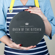 Personalised 'Queen Of The Kitchen' Round Serving Board