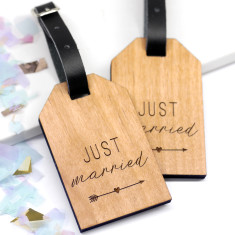 Personalised Wooden Just Married Luggage Tags