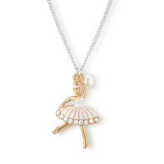 Chain necklace with gold ballerina & pearl