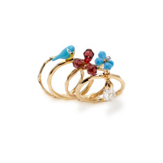 Blue bird and flower (set of 4 rings)