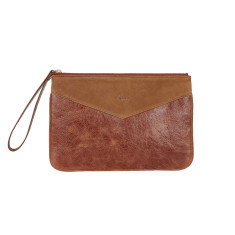 Lena clutch in brown leather and suede