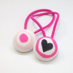 Pink and black hearts hair bands (set of 2)