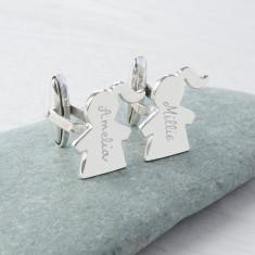 Men's personalised sterling silver people cufflinks