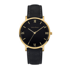 Women's Gold Black Suede Leather Watch