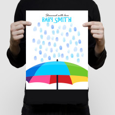 Baby shower umbrella personalised fingerprint guest book and ink