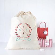 Christmas wreath personalised Santa sack