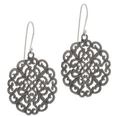 Brushed gunmetal sterling silver large cutout disc earrings