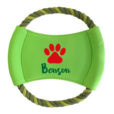 Personalised round rope frisbee in Christmas paw