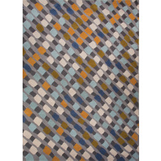 Modern multi & blue hand-tufted wool rug