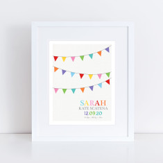 colourful bunting personalised birth stats print