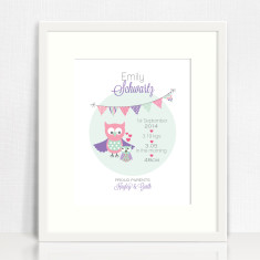 Girls' personalised bunting birth prints (various designs)