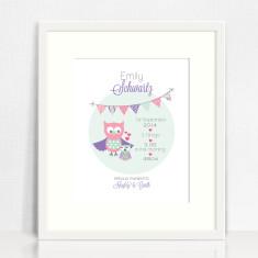 Girls' personalised bunting birth prints (various designs)