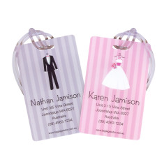 Personalised his & hers luggage tags in bridal (set of 2)