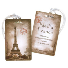 Personalised luggage tags in vintage Paris (set of 5)