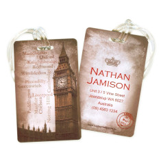 Personalised luggage tags in vintage London design (set of 5)