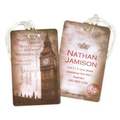 Personalised luggage tags in vintage London design (set of 5)