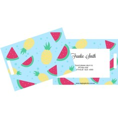 Set of 5 Personalised luggage tags in watermelon daze design