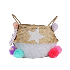 Seagrass belly basket white with candy coloured pompoms