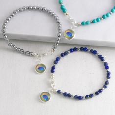 Gemstone Peacock Charm Bracelet