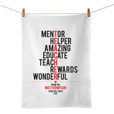 Teacher personalised typographic tea towel