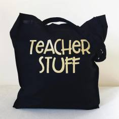 Glitter teacher tote bag